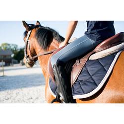 Pantalón Equitación Fouganza 100 Light Niño Gris y Azul Marino Badana Tela