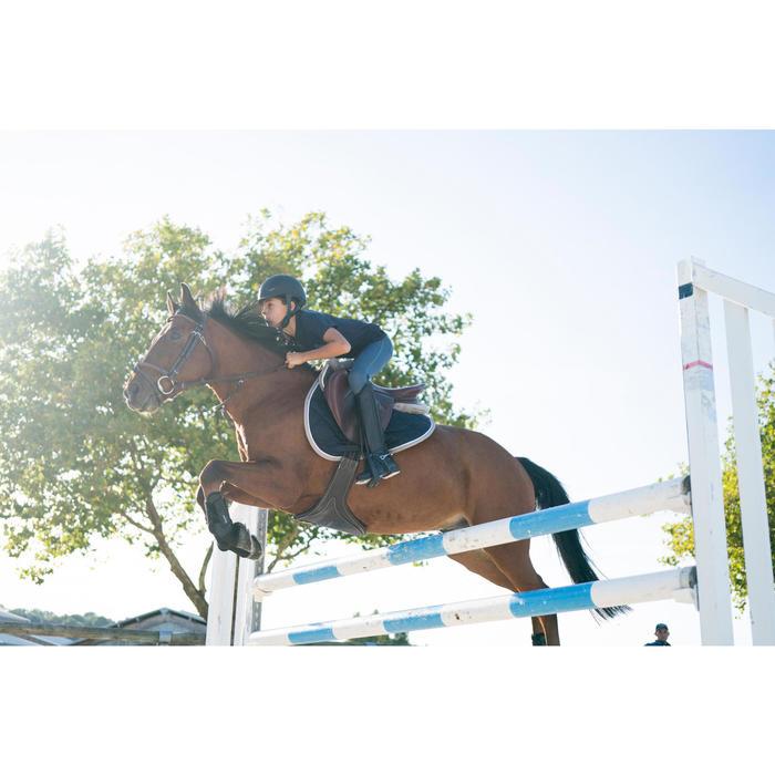 Pantalón equitación niños BR500 MESH Gris y azul marino