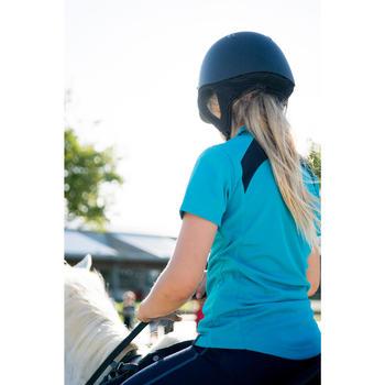 Kinderpolo met korte mouwen ruitersport PL500 mesh turquoise en marineblauw
