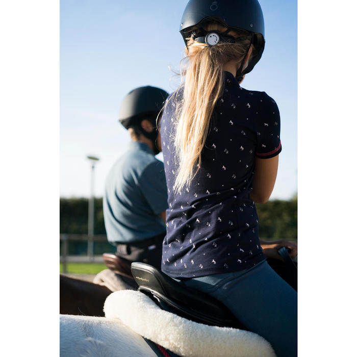 Polo korte mouwen ruitersport meisjes 140 marineblauw met wit motief