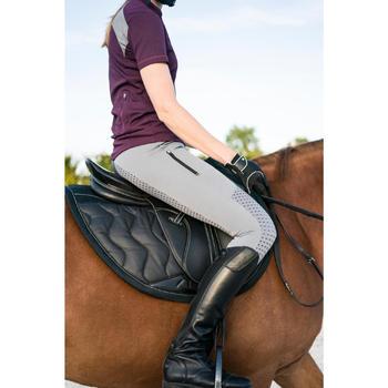 Polo manches courtes équitation femme PL500 MESH bleu marine et - 1282765