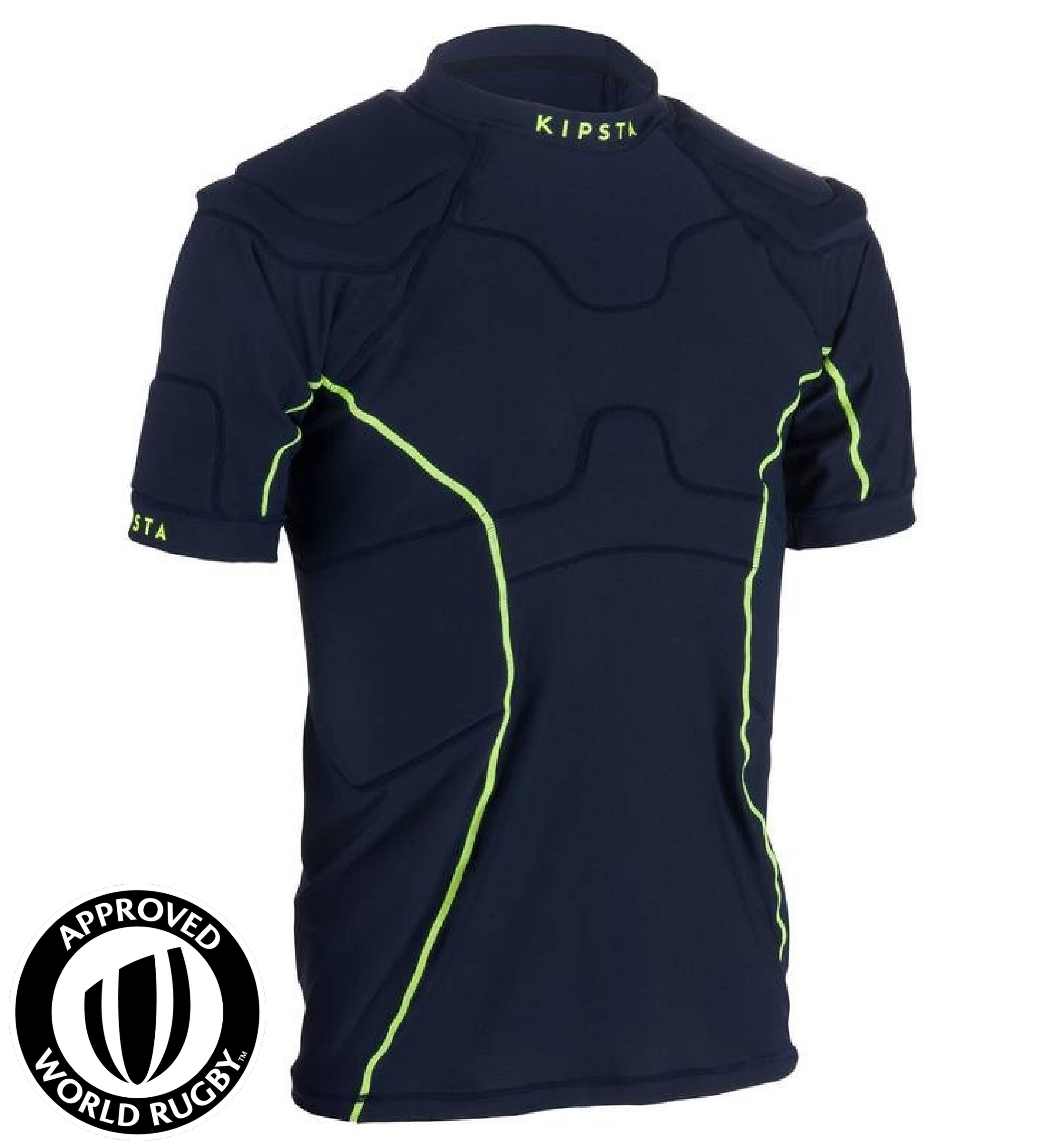 Kipsta Rugby shoulder pad voor volwassenen Full H 100 marineblauw/geel