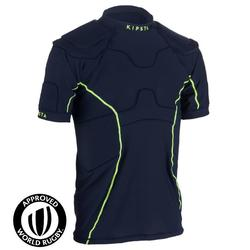 R100 Adult Rugby Shoulder Pads - Navy Blue/Yellow