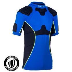 成人款橄欖球肩胸墊Full H 500-藍色
