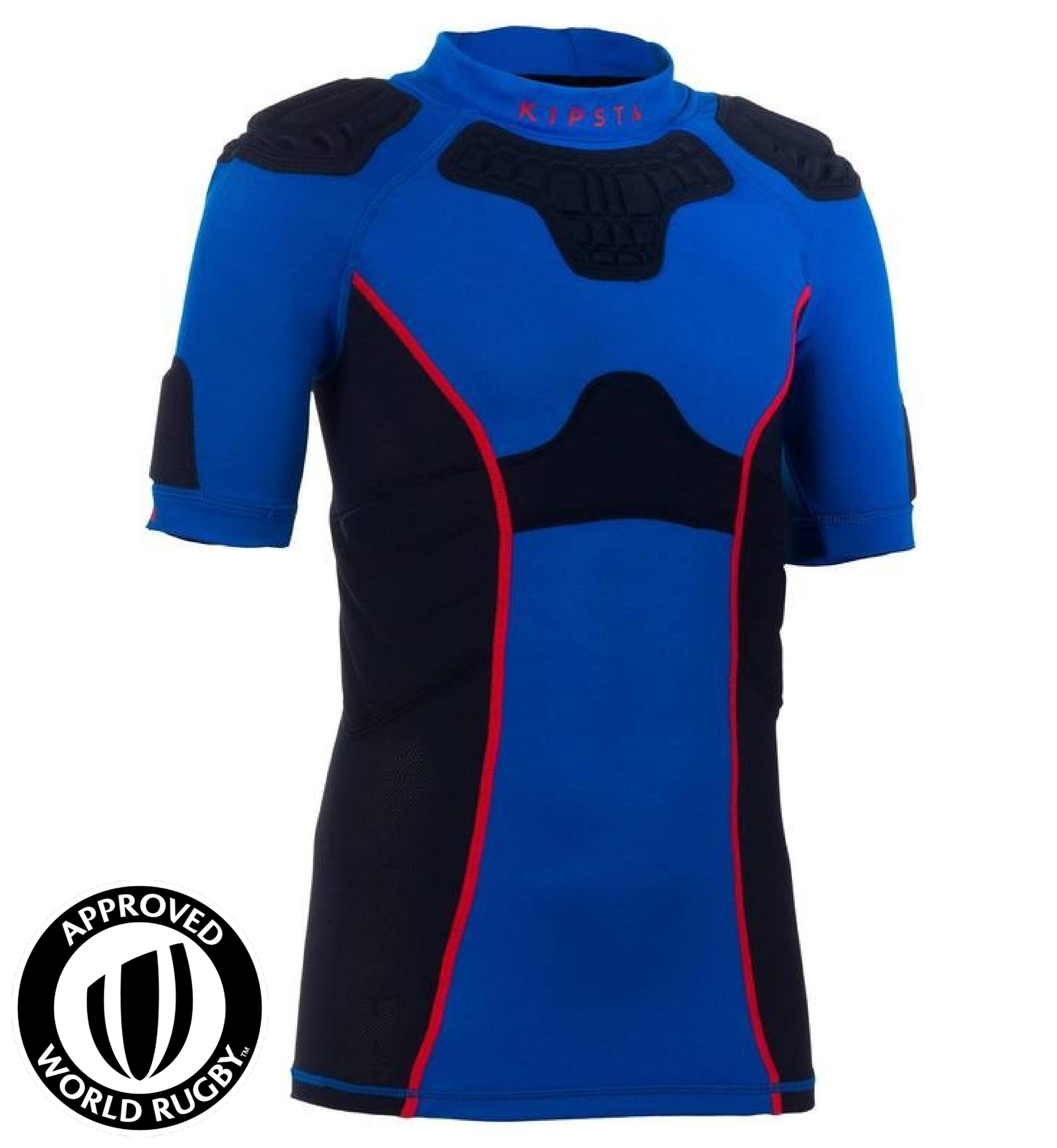 Kipsta Shoulder pad rugbykinderen Full H 500 blauw