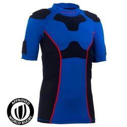 Full H 500 Kids' Rugby Shoulder Pads - Blue