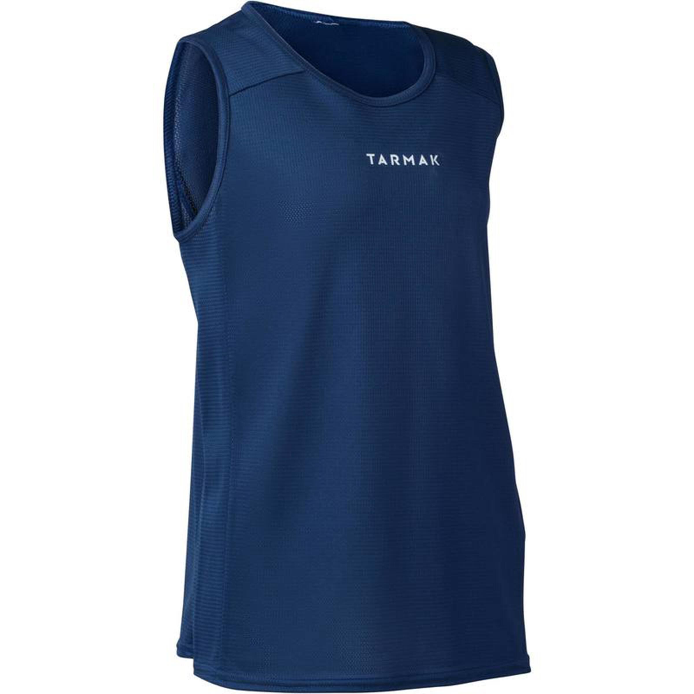 Tarmak Mouwloos basketbalshirt voor beginnende heren/dames T100 marineblauw