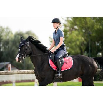 Polo manches courtes équitation femme PL500 MESH bleu marine et - 1282848