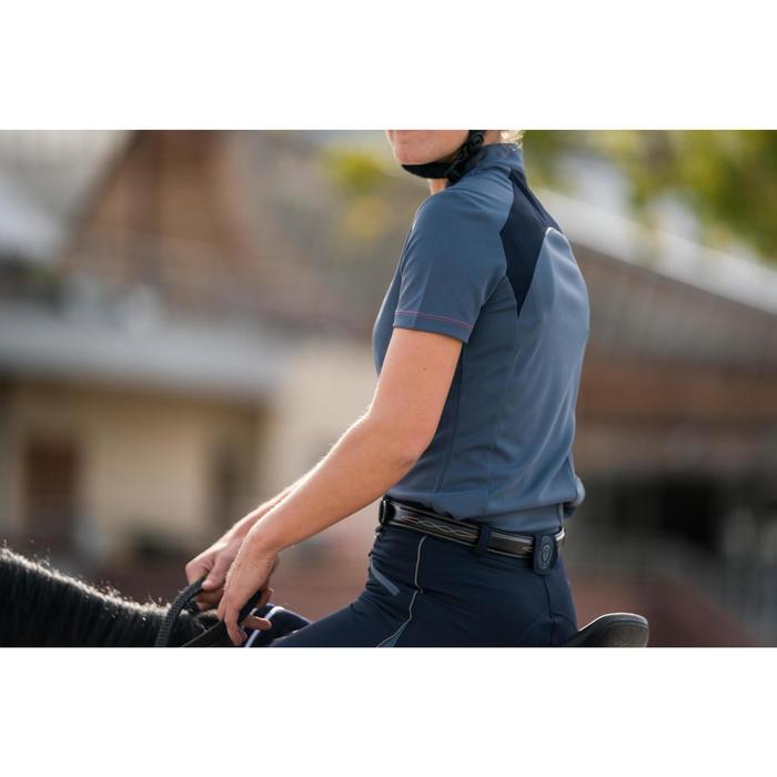Polo de manga corta equitación mujer PL500 MESH gris y azul marino