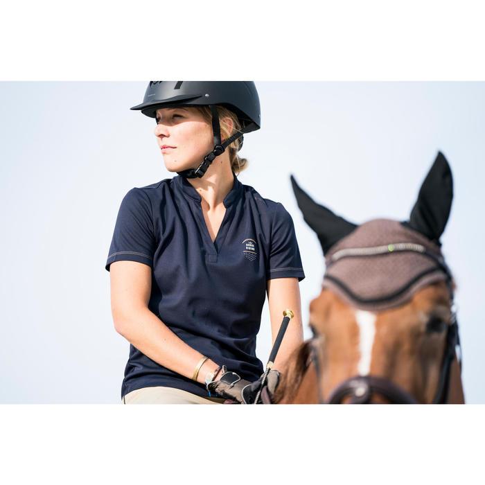 Polo manches courtes équitation femme PL500 MESH bleu marine et - 1282854