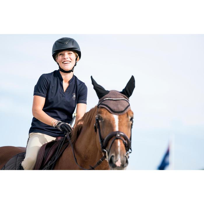 Polo manches courtes équitation femme PL500 MESH bleu marine et - 1282861