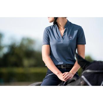 Polo manches courtes équitation femme PL500 MESH bleu marine et - 1282862