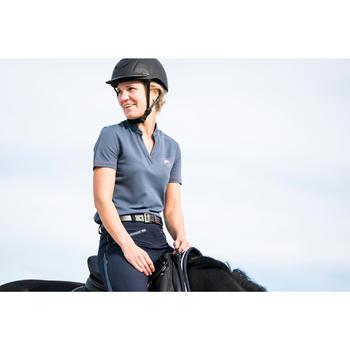 Polo manches courtes équitation femme 500 MESH gris et marine