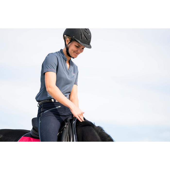 Polo manches courtes équitation femme PL500 MESH gris et marine