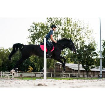 Polo manches courtes équitation femme PL500 MESH bleu marine et - 1282871