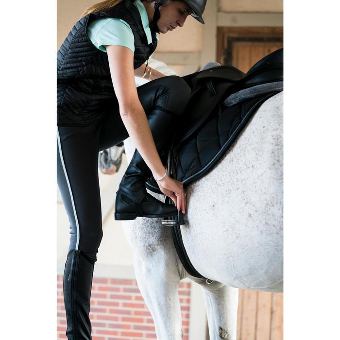 Pantalón equitación mujer BR340 Stripe badanas adherentes gris oscuro