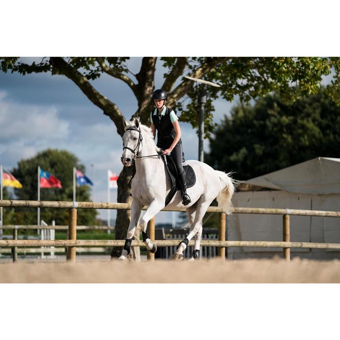 Polo manga corta equitación mujer PL140 verde agua con flores