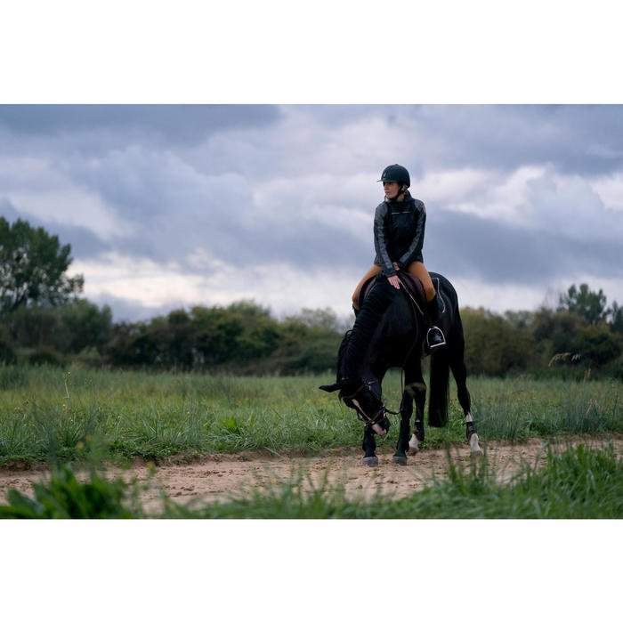 Veste imperméable équitation femme JKT500 gris carbone et motifs chevron
