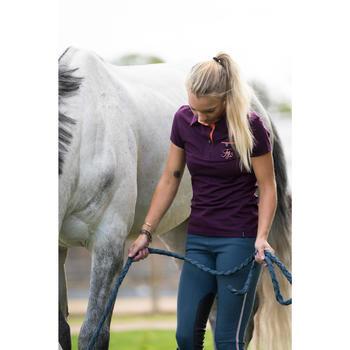 Polo manga corta equitación mujer PL140 ciruela con flores