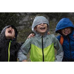 Veste imperméable de randonnée enfant MH150 bleue marine et grise 7 AU 15 ANS