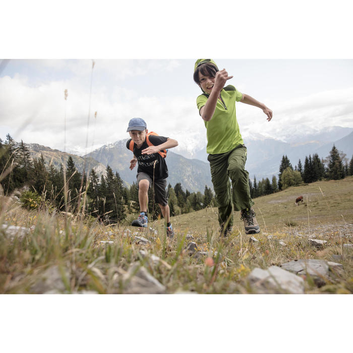 Zip-off-Wanderhose Hike 900 Kinder Jungen grün