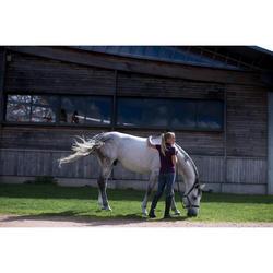 Pantalon équitation femme 140 STRIPE basanes agrippantes gris bleuté