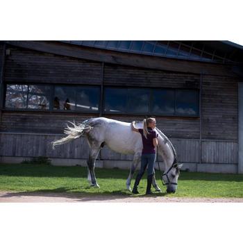 Polo manches courtes équitation femme PL140 prune motifs fleurs