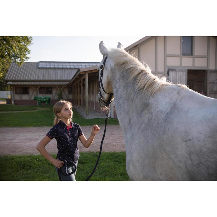 Polo manga corta equitación niña 140 GIRL azul marino motivos blancos