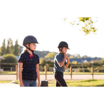 Reitpoloshirt Kurzarm PL140 Girl Kinder marineblau mit weißen Motiven