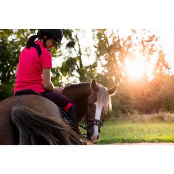 Polo korte mouwen ruitersport meisjes PL500 Mesh roze en paars