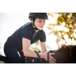 Polo de manga corta equitación júnior 500 MESH azul marino y gris
