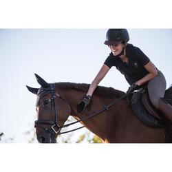 Polo manches courtes équitation femme 500 MESH marine et gris