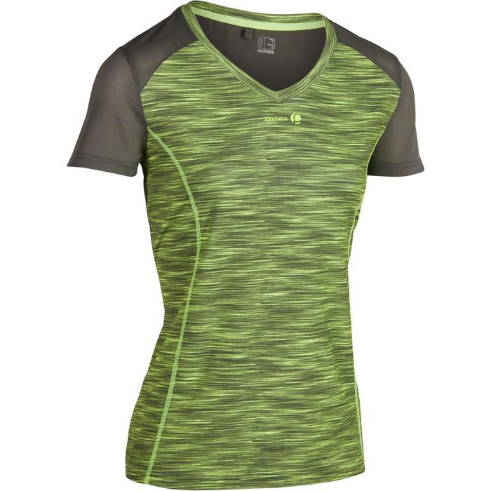 Tennis T-shirt voor dames Soft gemêleerd kaki 500