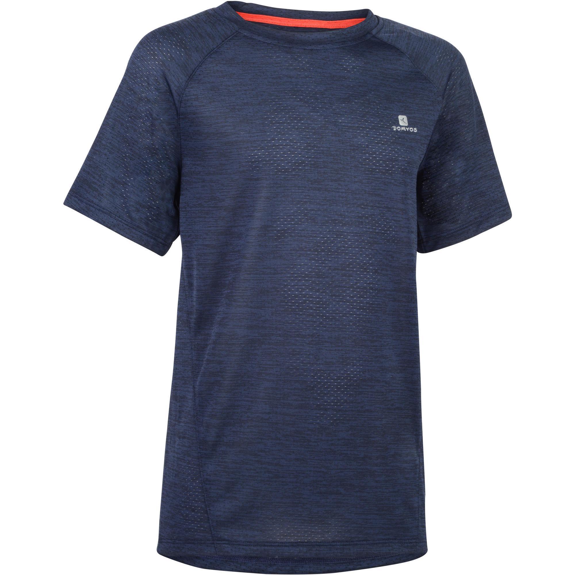 Domyos Gym T-shirt voor meisjes S500 korte mouwen marineblauw