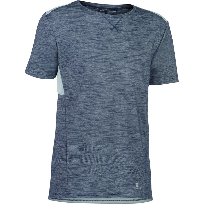 500 Boys' Short-Sleeved Gym T-Shirt - Grey/Blue