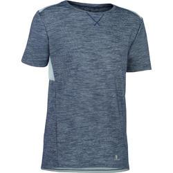 Tee-shirt 500 manches courtes gym garçon gris bleu