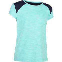 Camiseta De Manga Corta Gimnasia Domyos 500 Niña Turquesa Azul Marino