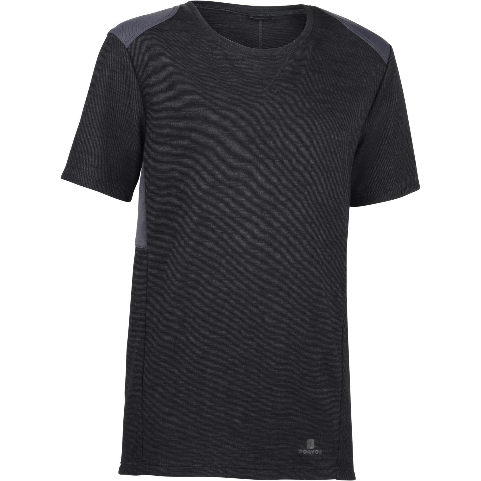 Domyos Gym T-shirt met korte mouwen 500 voor jongens grijs zwart