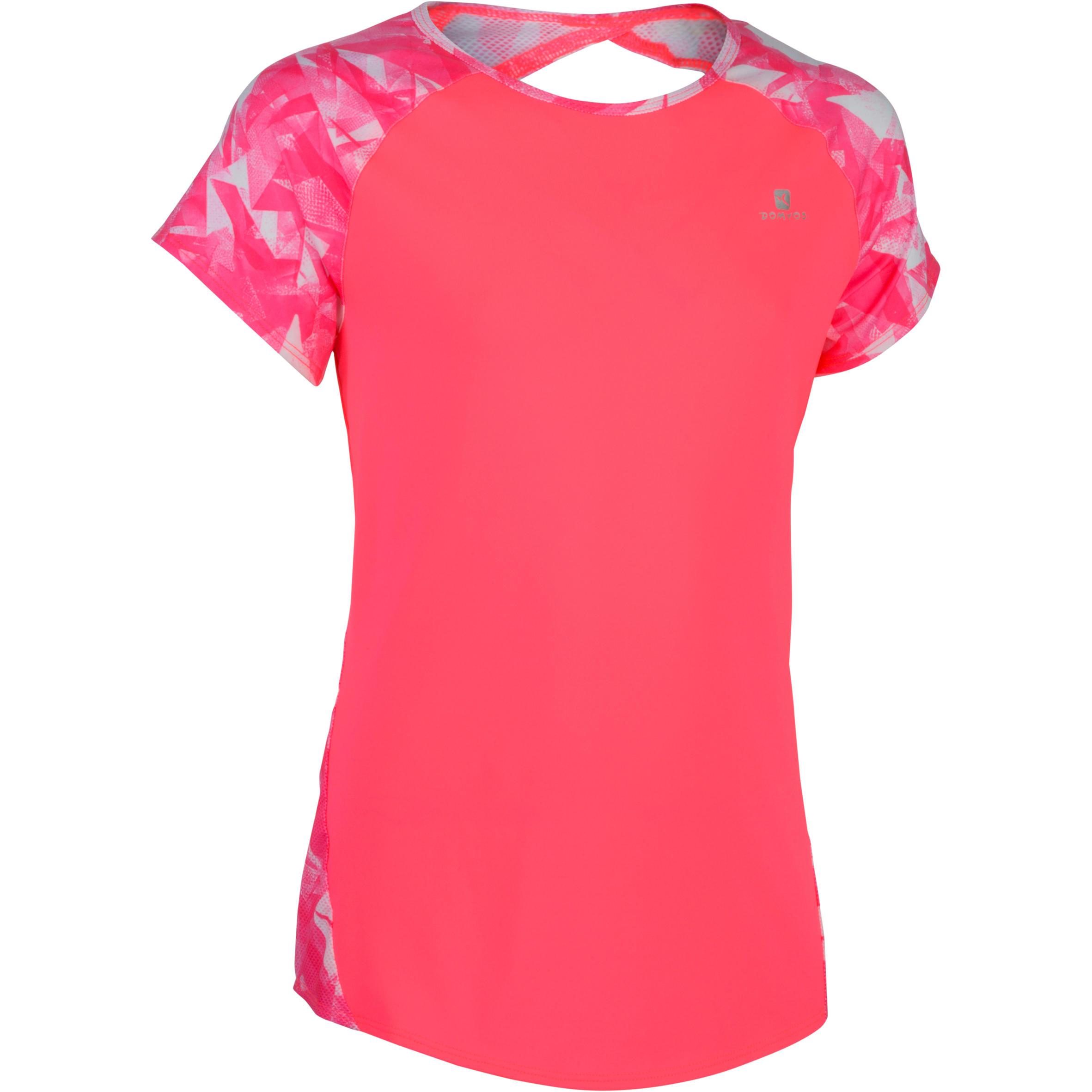 Tee-Shirt 960 manches courtes gym fille imprimé rose