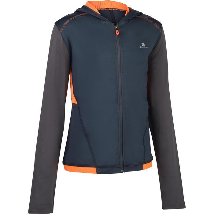 960 男童健身運動連帽式夾克 - 灰色/橘色