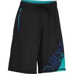 Sporthose kurz W900 Kinder schwarz/blau mit Print