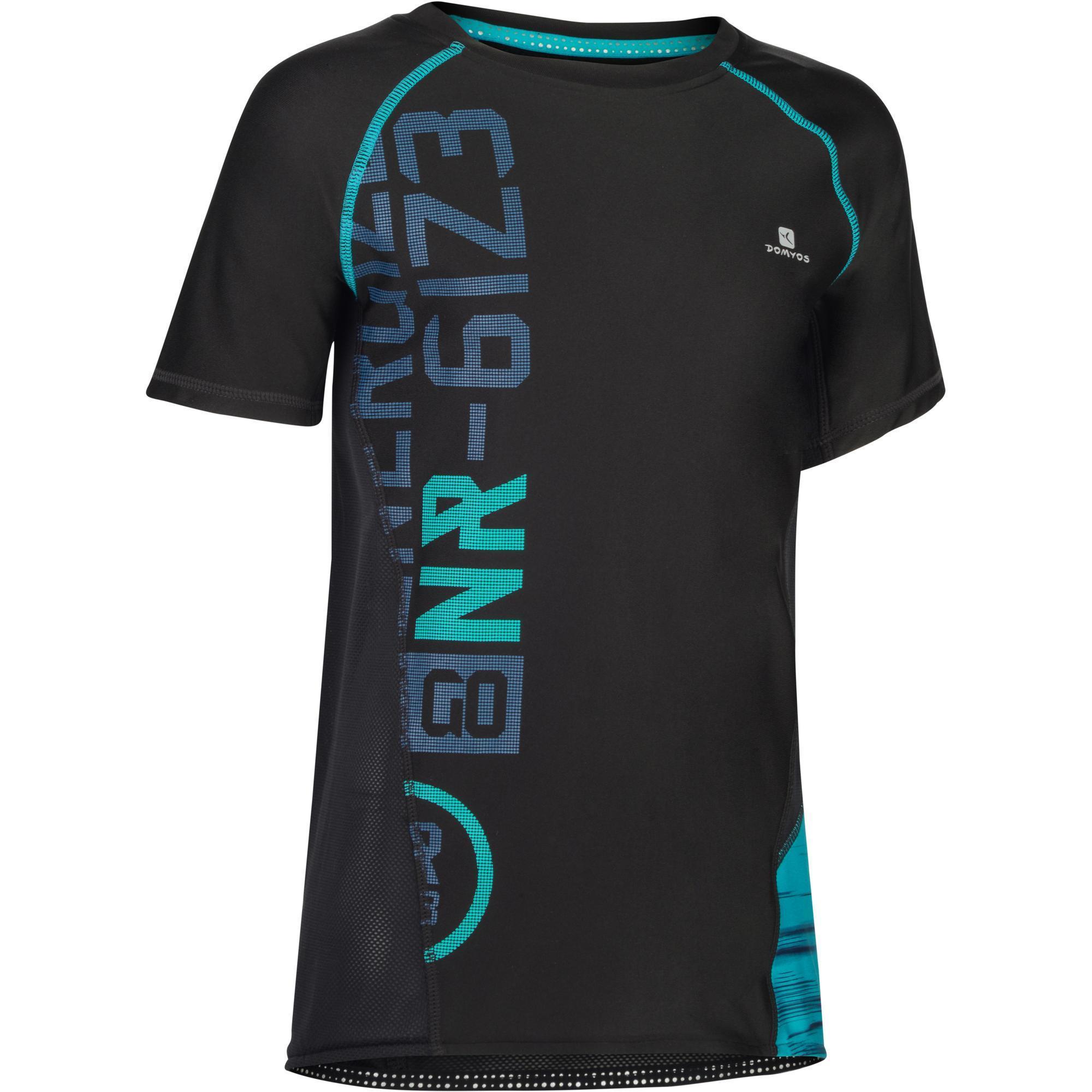 Domyos Gym T-shirt met korte mouwen slim fit S900 voor jongens zwart met opdruk