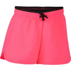 Pantalón Corto De Gimnasia Domyos W500 Transpirable Ajustable Rosa Negro