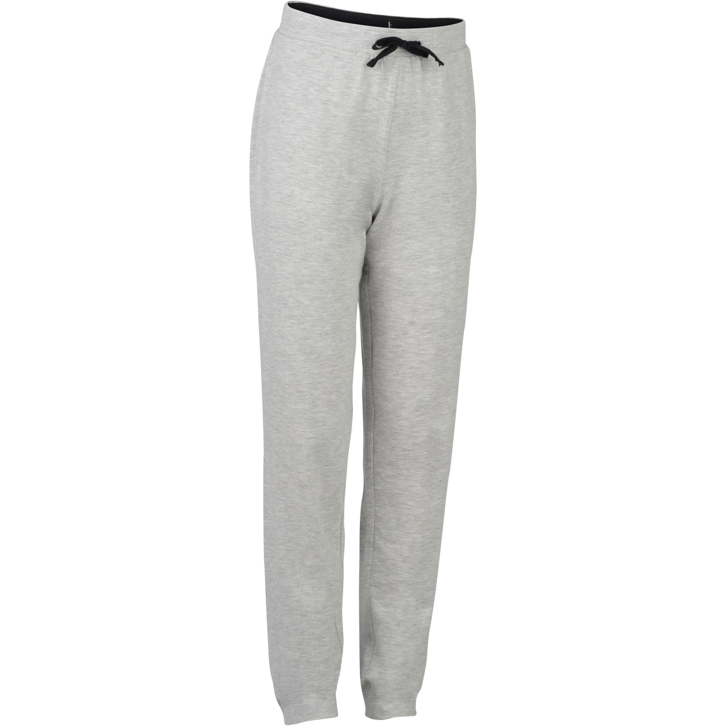 Pantalón algodón transpirable ligero Slim 500 niña GIMNASIA JÚNIOR gris claro