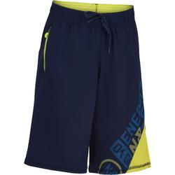 980 男童健身房運動短褲 (附口袋) - 海軍藍/黃色