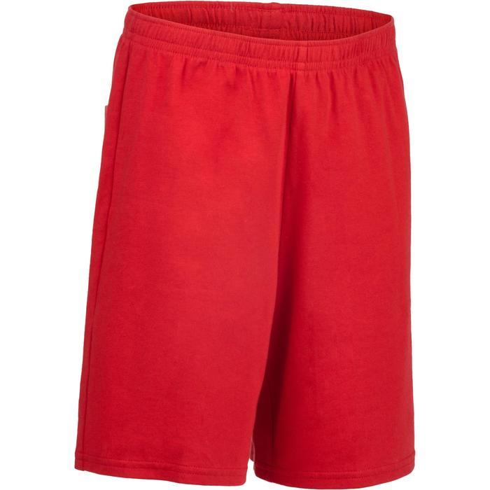 Pantalón Corto Chándal Gimnasia Domyos 100 Niño Algodón Rojo