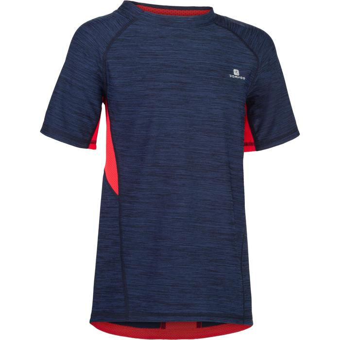 Gym T-shirt met korte mouwen S900 voor jongens marineblauw rood
