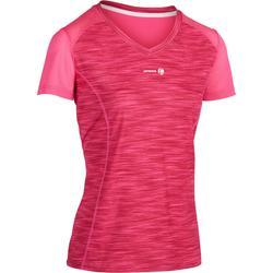T-Shirt Soft 500 Tennisshirt Damen rosa meliert