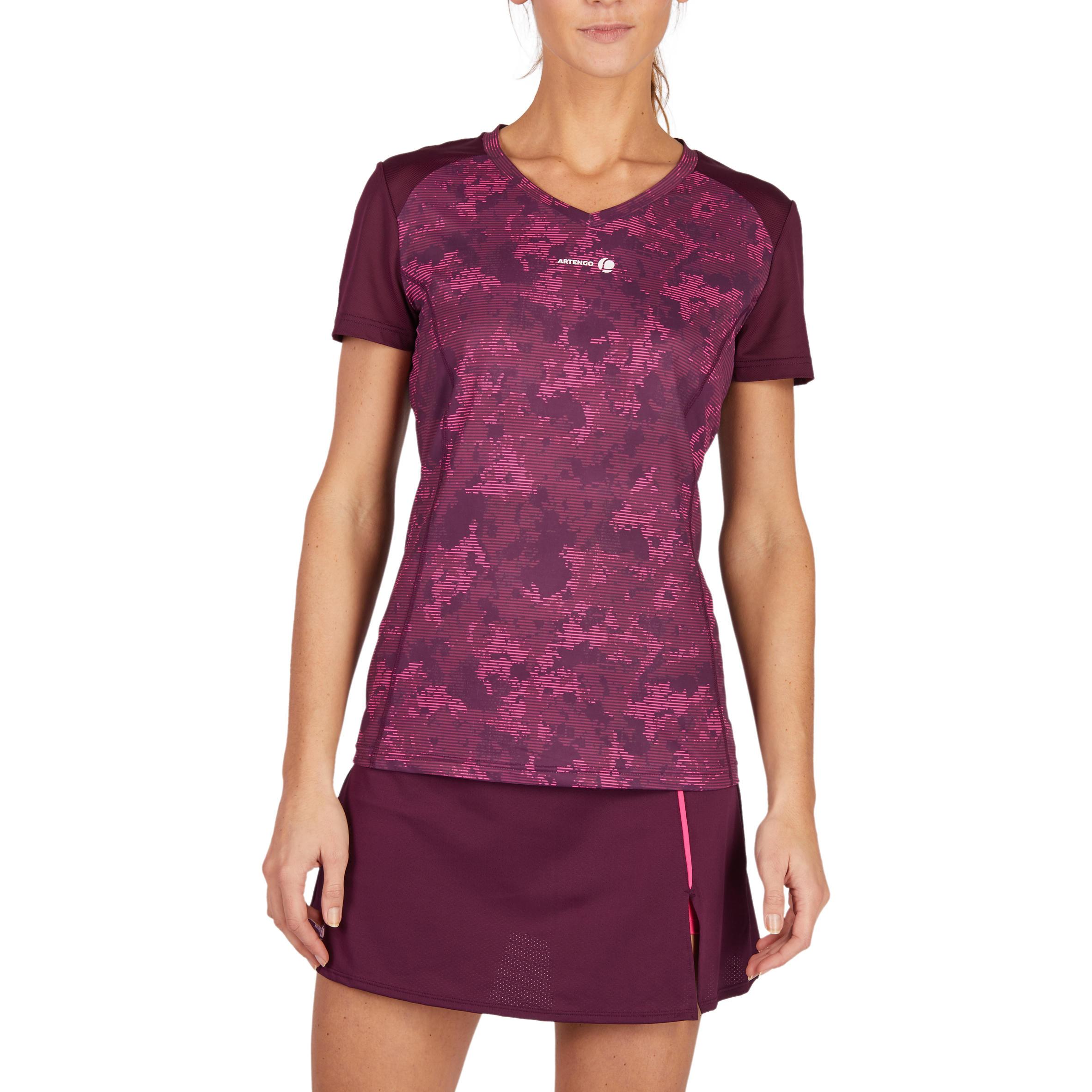 Women's Tennis T-Shirt - Soft 500 Burgundy