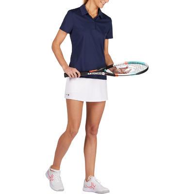 חולצת פולו בייסיק לנשים לטניס, בדמינטון, פאדל טניס, טניס שולחן וסקווש - כחול כהה